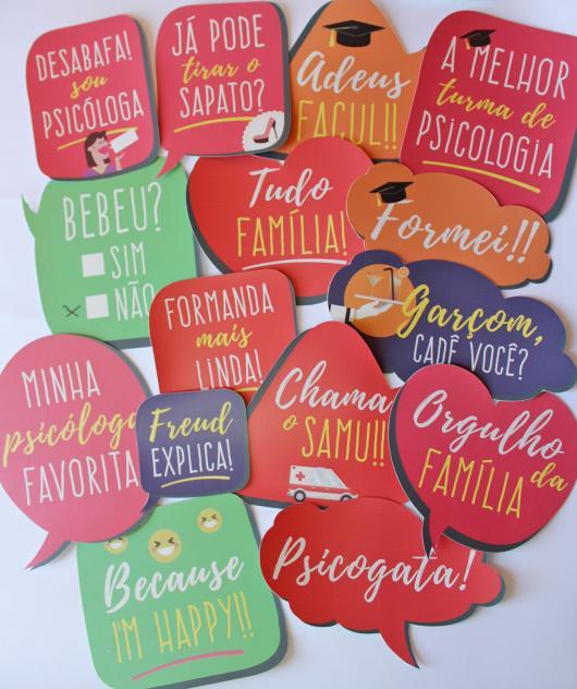Plaquinhas coloridas para formatura de Psicologia