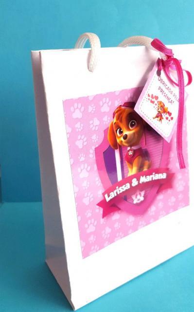 Sacola de papel da Patrulha Canina para festas de meninas