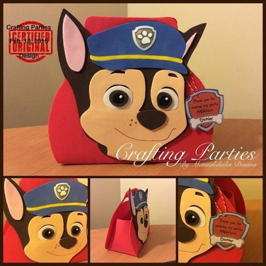 Sacolinha personalizada patrulha canina de EVA com cada personagem