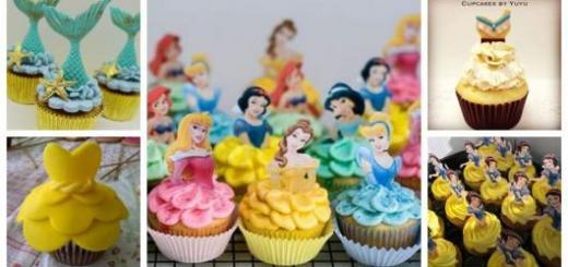 Montagem com cinco imagens de cupcake princesas.