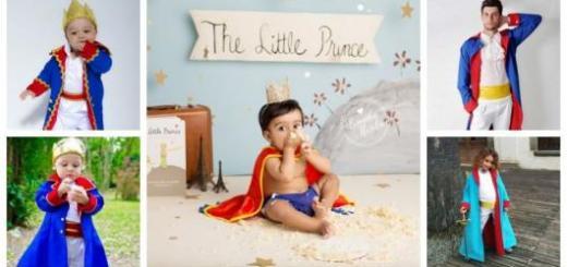 Montagem com cinco imagens com crianças e adultos usando fantasia Pequeno Príncipe.