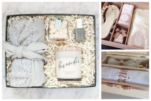 Montagem com três kits para madrinhas de casamento.