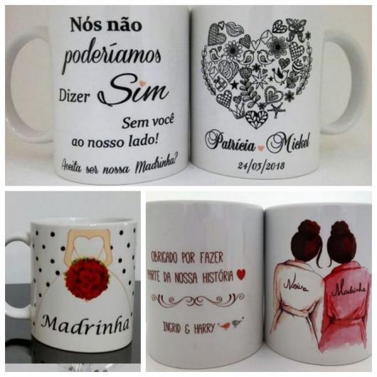 Três exemplos de canecas para lembrancinhas para madrinhas de casamento.