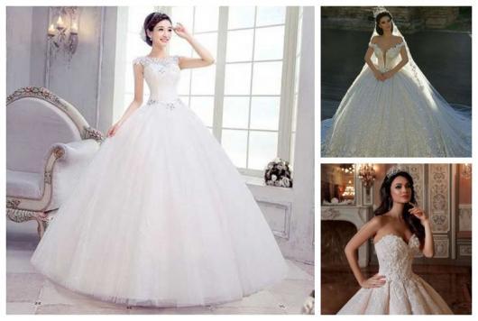 Montagem com três fotos de vestido de noiva rodado.