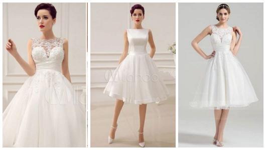 Três fotos de vestido de noiva rodado curto.