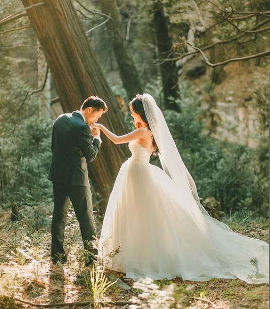 Foto de noivo beijando a mão da noiva em floresta.
