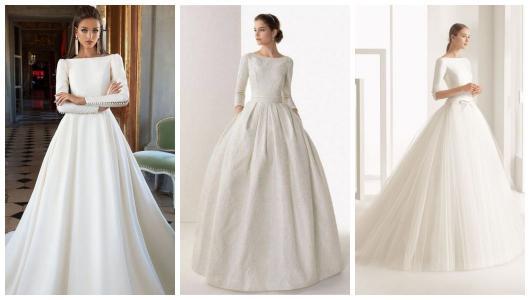 Montagem com três exemplos de vestido de noiva rodado com manga.