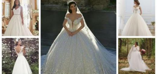 Montagem com cinco modelos diferentes de vestido de noiva rodado.