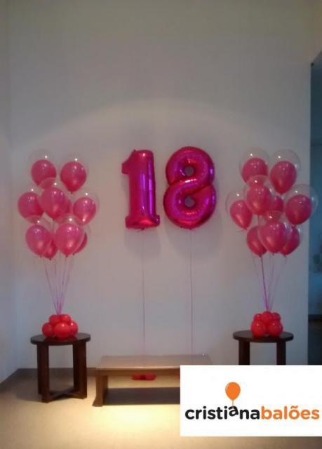 Balão de gás hélio de número rosa pink