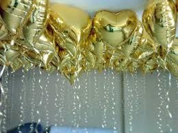 Balão de gás hélio de coração dourado