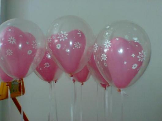 Balão de gás hélio de coração com balão transparente