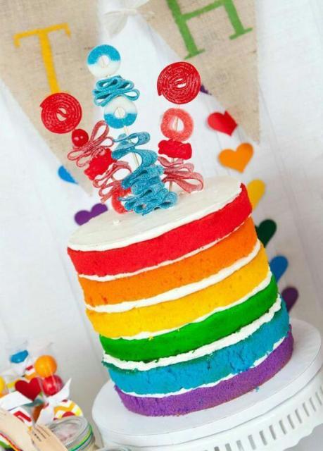 Bolo colorido naked cake