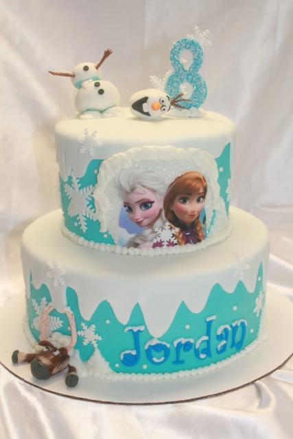 Ideia para você decorar o bolo da Frozen com pasta americana