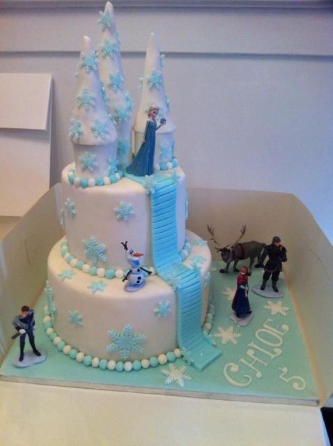 O azul e o branco são as cores mais usadas para o bolo da Frozen