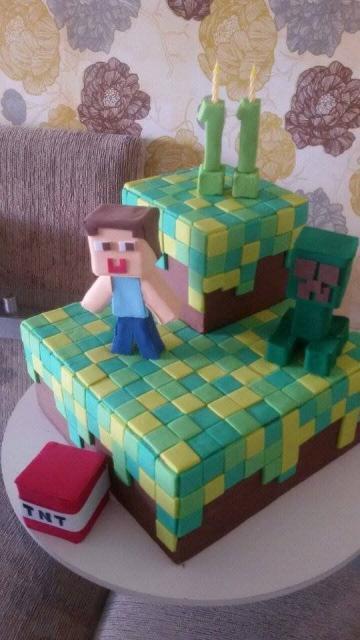 Decoração de bolo quadrado temático do Minecraft