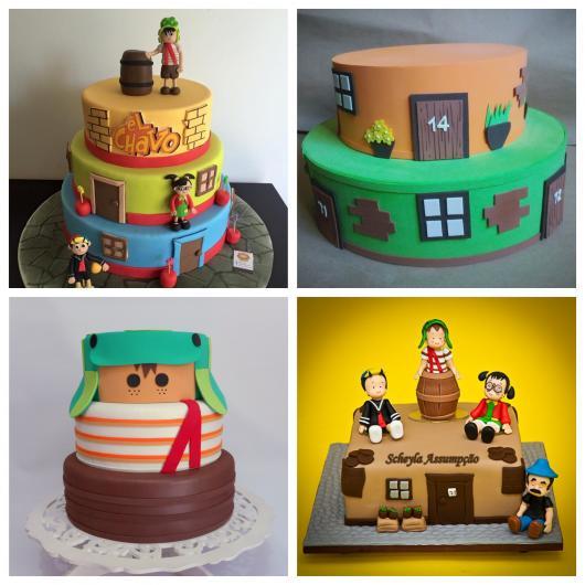 Vários modelos de bolo cenográfico para incrementar a decoração de sua festa do Chaves!