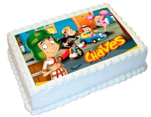 Bolo do Chaves quadrado com papel de arroz