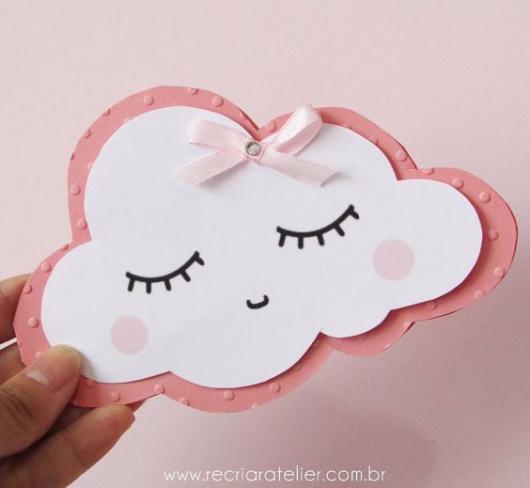 Convite chuva de amor com formato de nuvem com lacinho