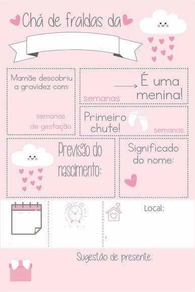 Convite chuva de amor modelo cartão rosa e branco