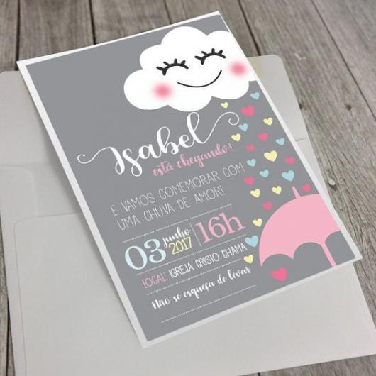 Convite chuva de amor modelo cartão com fundo preto