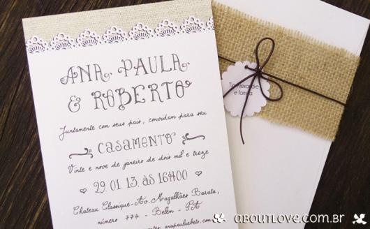 Convite de casamento rústico com juta