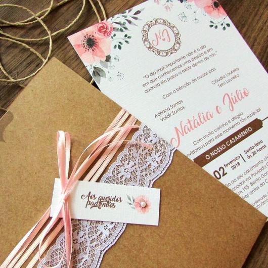 Convite de casamento rústico romântico com laço rosa