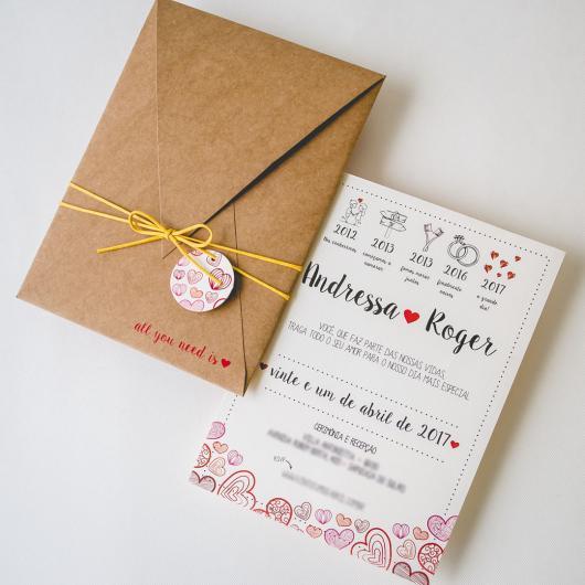 Convite de Casamento Alegria (Arte Digital) - Criativa