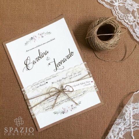 Convite de casamento rústico com renda com corda de sisal