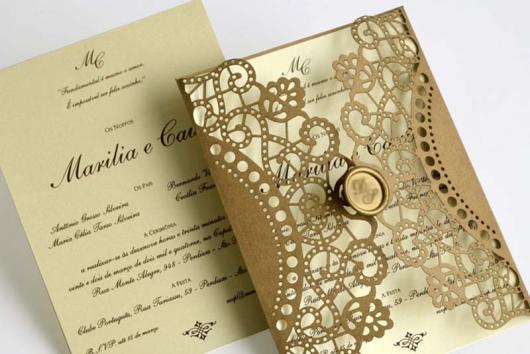Convite de casamento rústico chique com arabesco