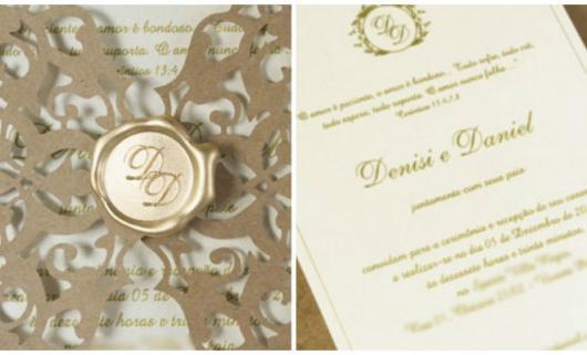 Convite de casamento rústico chique com selo de cera