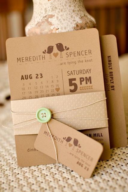 Convite de casamento rústico criativo com formato de calendário