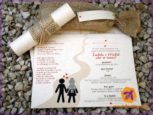 Convite de casamento rústico criativo enrolado com juta