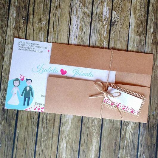 Convite de casamento rústico criativo com desenho dos noivos