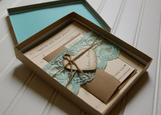Convite de casamento rústico criativo em caixa