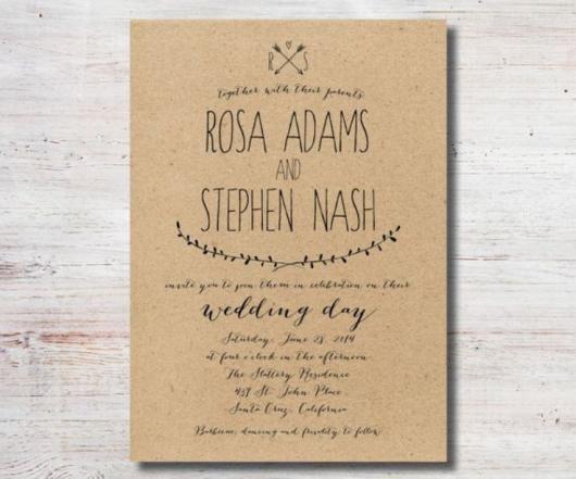 Convite de casamento rústico simples