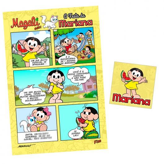 Outra ideia de convite imitando uma historinha da Magali