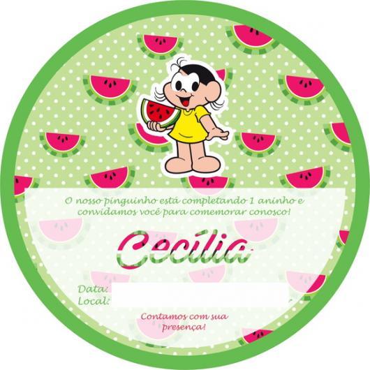 Convite diferente da Magali com desenhos de melancias