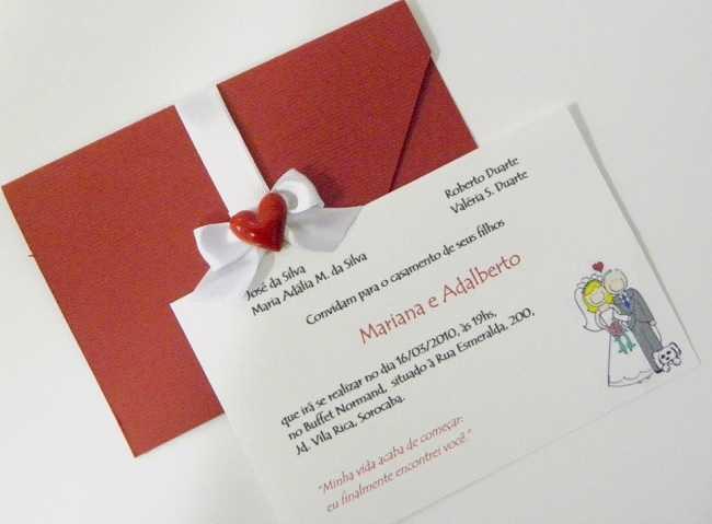 Envelope para convite simples de casamento