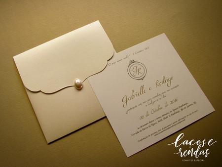Envelope para convite de casamento com pérola