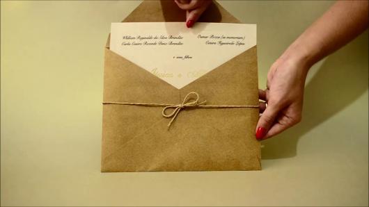 Envelope para convite de casamento rústico