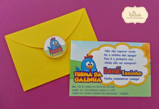 Envelope para convite de aniversário com tema Galinha Pintadinha
