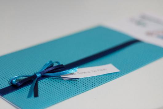 Envelope para convite de aniversário azul