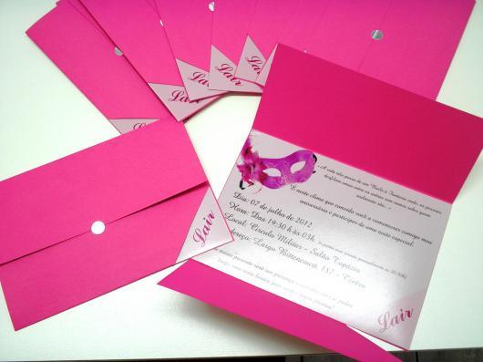 Envelope para convite de aniversário rosa