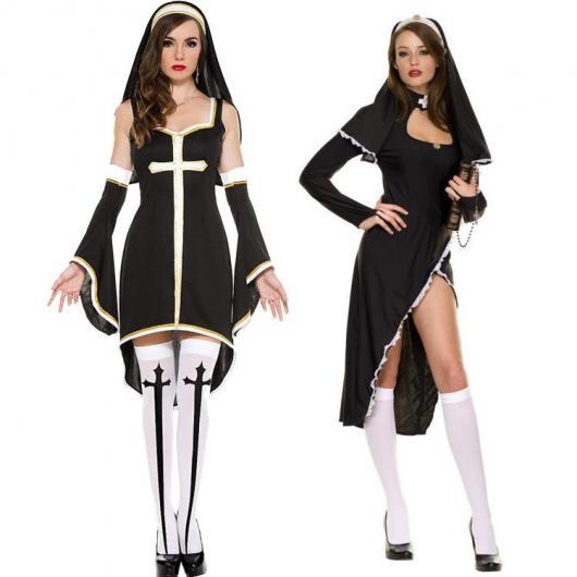 Fantasia de freira com vestido tubinho preto