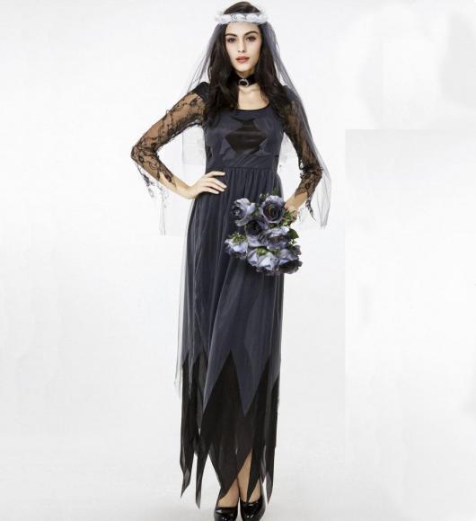 A fantasia de noiva macabra combina com vestido preto