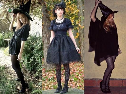 Componha sua fantasia com vestido preto com meia calça
