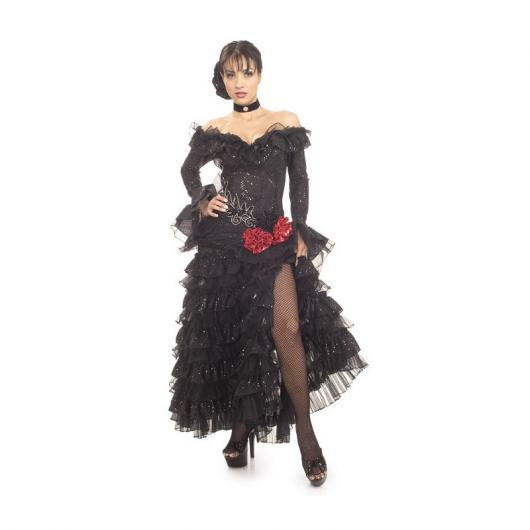 Fantasia de dançarina flamenca com vestido preto