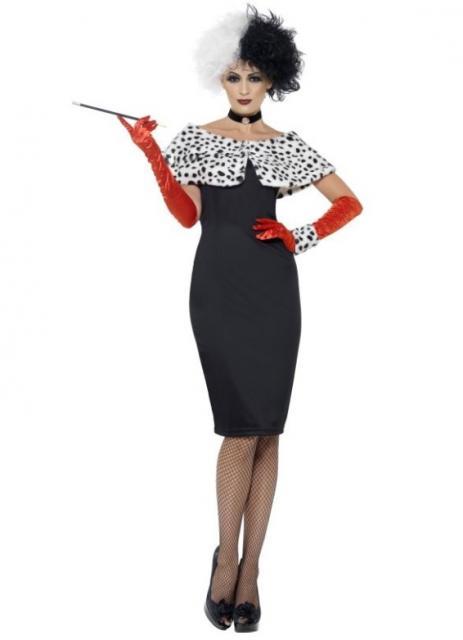 Mais uma sugestão de fantasia de Cruela com vestido tubinho