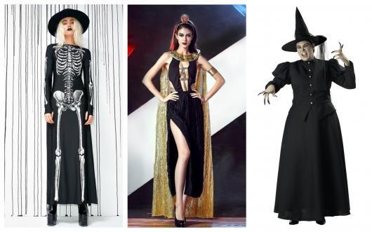 Modelos de fantasias com vestido preto longo