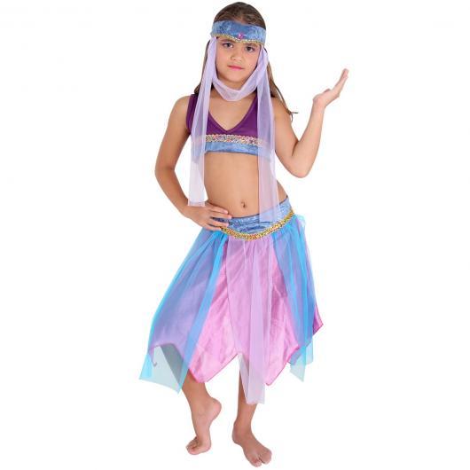 Fantasia odalisca infantil azul rosa e roxo